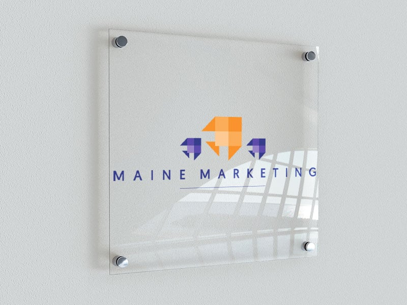 Maine Marketing logo design on a sign