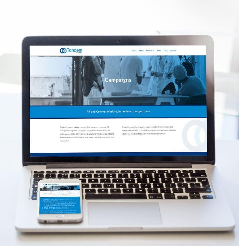 Tandem Comms website design
